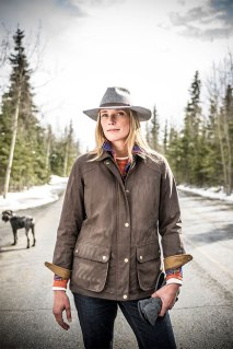 duluth women model nora in waxed cotton jacket Fall Gear Gets it Done