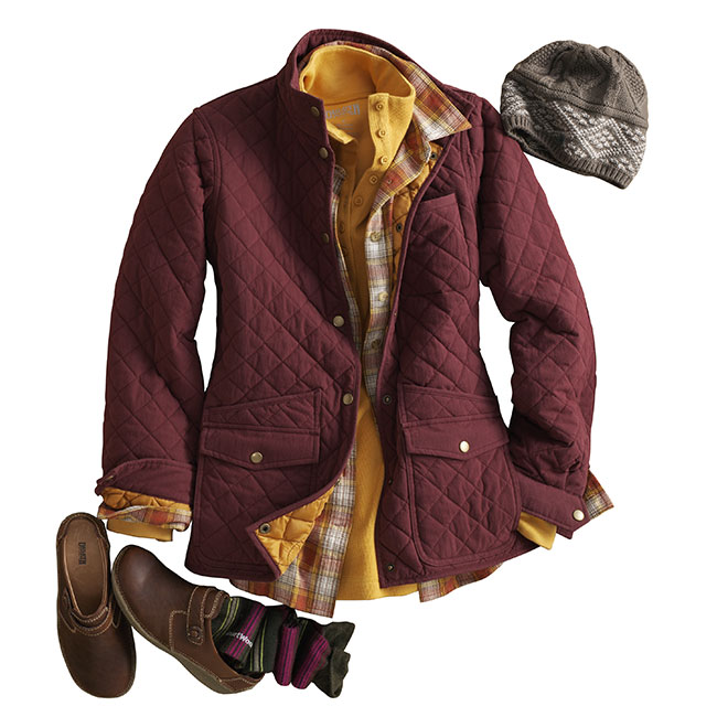 Harvest the warmth of our new Cortland Quilted Jacket #67500 for those crisp fall days. Pair it with our Heritage Rib Mock Tee #29529, a Free Swingin' Flannel #65505 and a pair of Andina Mule Shoes #12544. Cut the chill with a SmartWool Hat #62514 and SmartWool Socks #63515.
