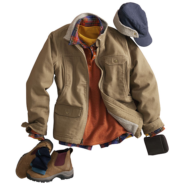 Soft but strong-willed Fire Hose Iron Range Jacket #14507 paired with Free Swingin' Flannel #65505, Longtail T Shirt #53027 and Henley #35052. Pair with a Fire Hose Iron Range Cap #11502, SmartWool Socks #57014 and Oiled Leather Wild Boar Boots #63500.