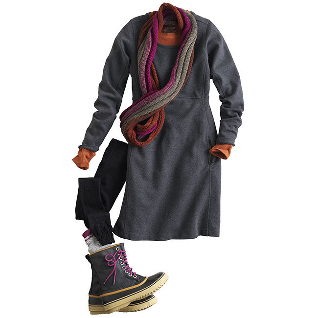 Pull together pronto! Easy Wearwithall Ponte Knit Dress #69506 takes on whatever the day throws at you. Layer with a Longtail T Shirt #53027 and pair it with a cozy SmartWool Scarf #62513, SmartWool Tights #63512, Field Socks #63526 and Sorel Boots #63519.
