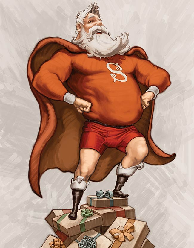 Santa Wearing Buck Naked Underwear on a Pile of Christmas Presents