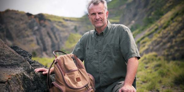 "America Unearthed Scott Wolter with His Bulldozer Backpack ""Trusty"""
