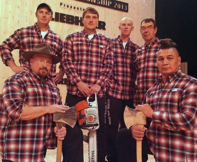 STIHL TIMBERSPORTS Team wearing Duluth Trading Free Swingin' Flannel Shirts