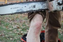 lucky sob stihl chainsaw vs fire hose pants knee #LuckySOB: Chainsaw vs. Fire Hose Pants