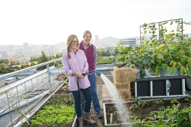 Gardening Tips for Hunger Relief featuring Courtney and Kimberly from Noble Rot wearing Armachillo Shirt, Lightweight Gardening Vest and Hemp Tunic