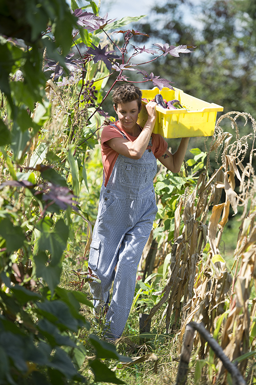 Gardening Tips for Hunger Relief featuring Sara from Zenger Farm wearing Railroad Striped Overalls
