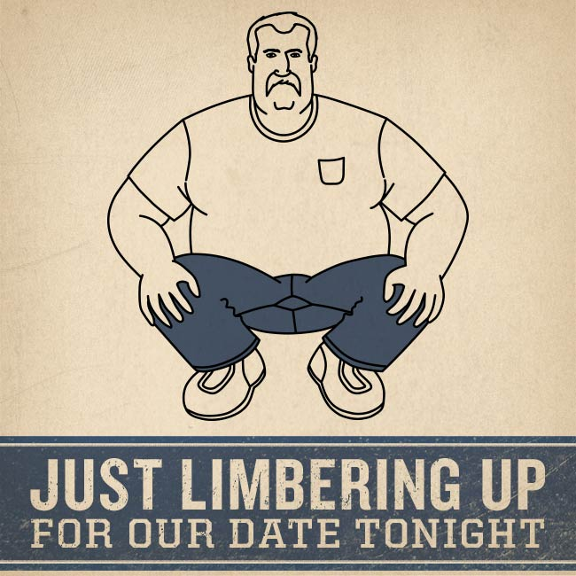 "Valentine featuring Ballroom Jeans says ""Just Limbering Up for Our Date Tonight"""