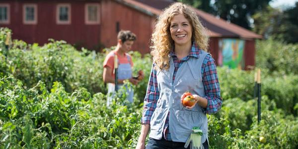 Zenger Farms models women's garden clothes