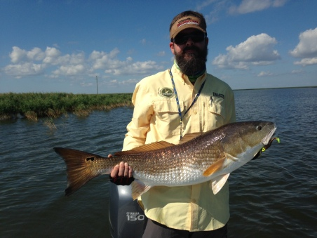 Steve Bender, Director of the Vanishing Paradise campaign, hoists a 38 inch redfish caught off the coast of Louisiana.