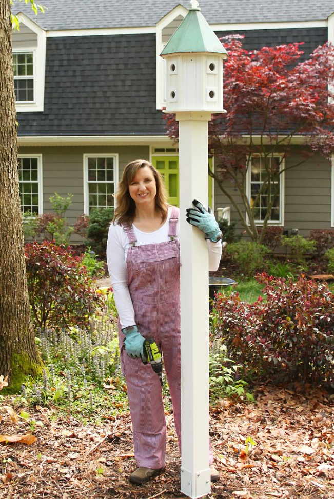 Brittany Bailey DIY Blogger of Pretty Handy Girl builds a birdhouse in her Duluth Trading Overalls #DIYCourage