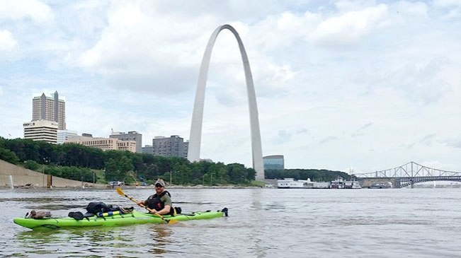 Summer Solving Clothes: Kayaking past the St. Louis Arch.